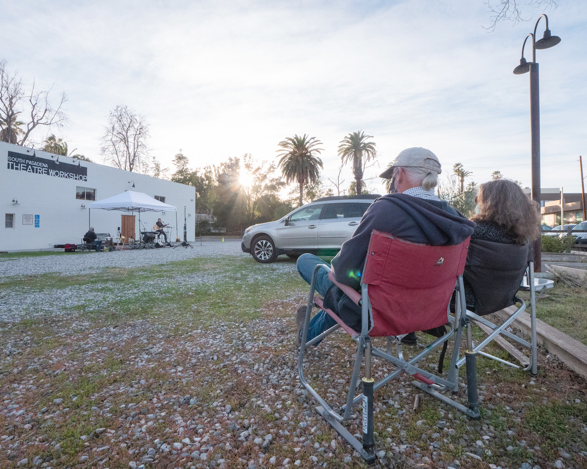 Drive-in Concert a Success South Pasadenans Watch in Chairs in the lot on Valentine's Day